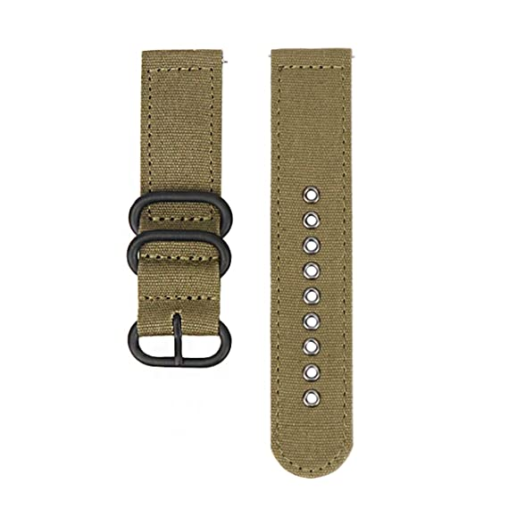 24mm Watch Strap Watchband Quick Release Canvas Military Nylon Watch Belt with Black Buckle (Army