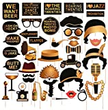 Roaring 20's Party Photo Booth Props Kit Large 42pcs Vintage 1920s Jazz Music Theme Selfie Costume Decorations For Wedding Birthday Bachelorette Bridal Shower Favor Gift Accessories