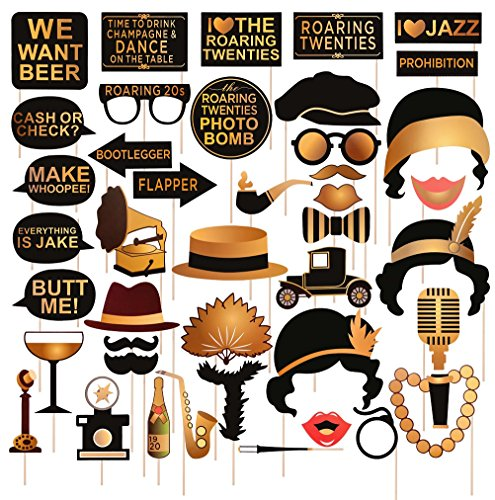 Roaring 20's Party Photo Booth Props Kit Large 42pcs Vintage 1920s Jazz Music Theme Selfie Costume Decorations for Wedding Birthday Bachelorette Bridal Shower Favor Gift -