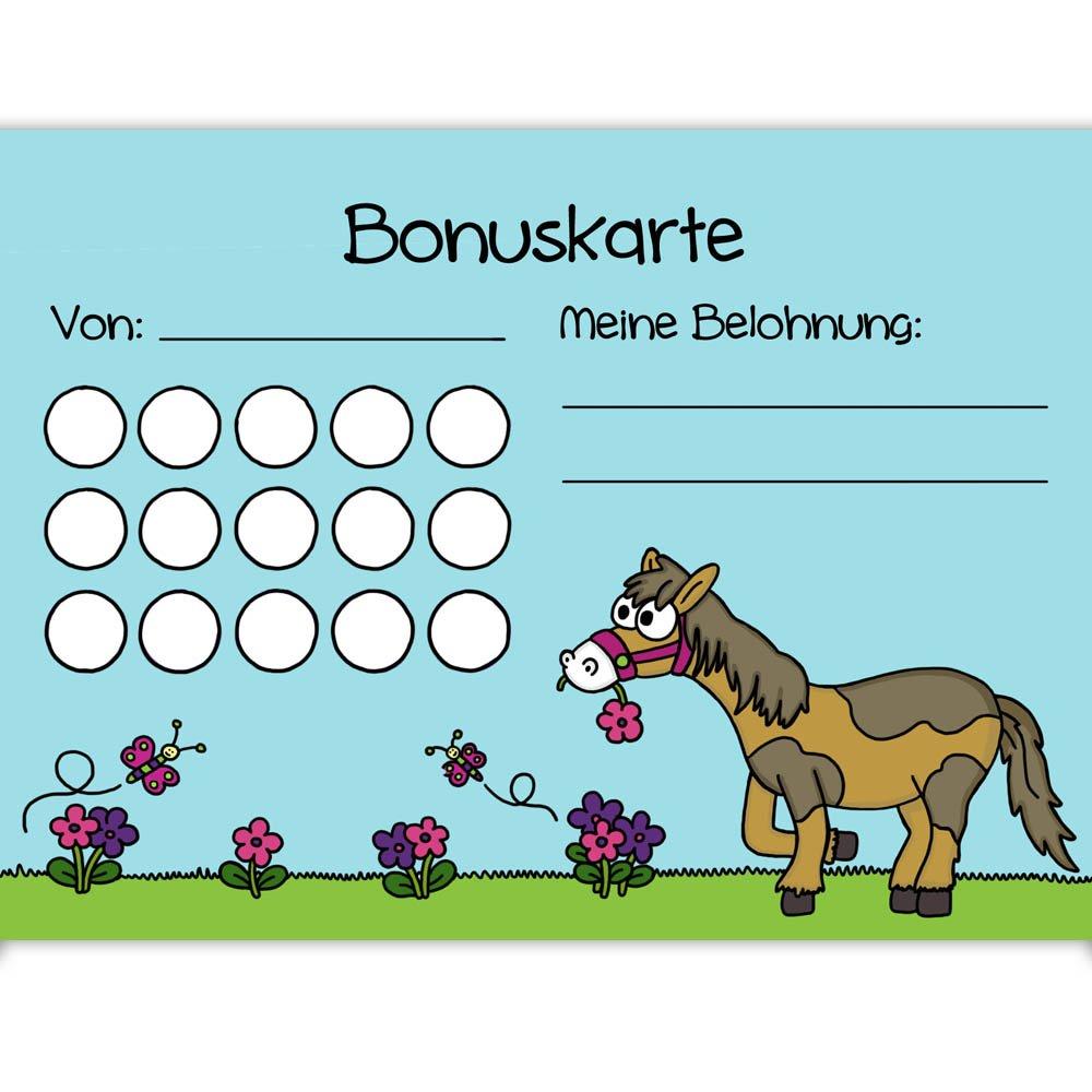 5x Bonuskarten Pferd DIN A6 Bonuskarte Belohnungssystem Kinder für Jungen Mädchen Punkte sammeln Belohnungstafel Fleißkärtchen Fleißkarte Töpfchentraining Hausaufgaben Hausarbeit Haushalt Stempelkarte Punktekarte Mausmimi