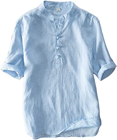 Hombre Casual Camisa De Lino, Basica Camiseta Sin Cuello Manga Corta T Shirts Tops