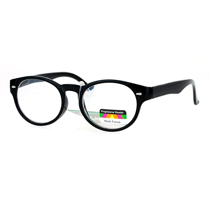3e3a325afe Multi Focus Progressive Reader Glasses 3 Powers in 1 Oval Round Black +1.00