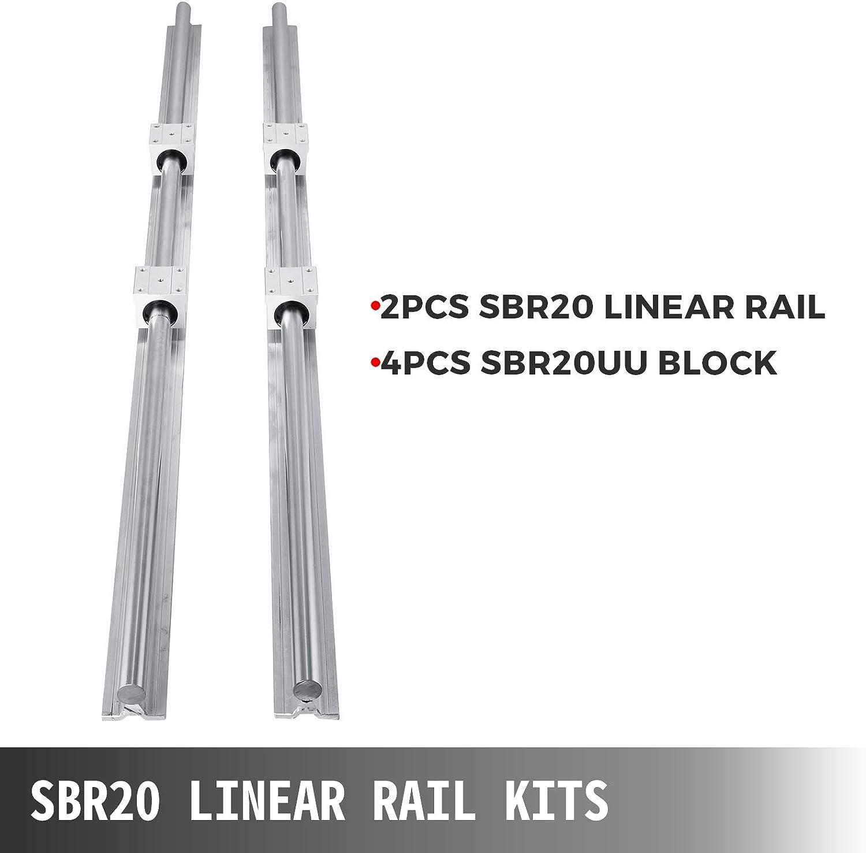 pour le routeur CNC//Rectifieuse CNC//limpression de machines industrielles//la table X-Y Rail lin/éaire VEVOR Miniature Rail Lin/éaire Guide SBR20X1200 4 x bille roulement Rails Lin/éaires CNC