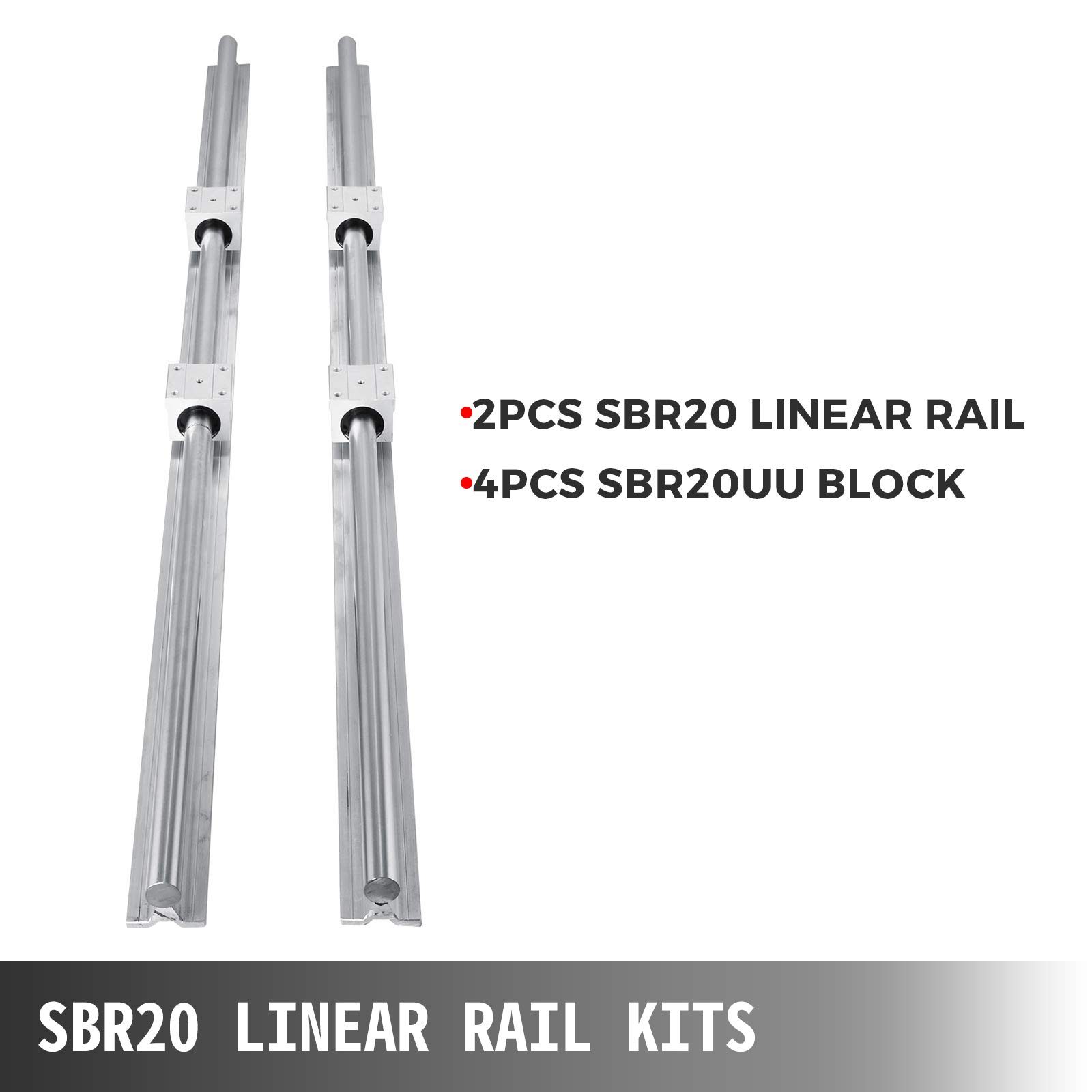 OrangeA Linear Rail 1 Set SBR25-530mm Linear Slide Guide Rail Shaft and 2 SBR25UU Bearing Block Linear Guideway Rail for Automated Machines and Equipments