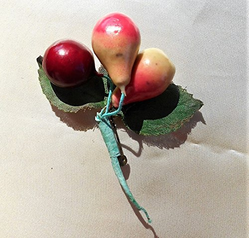 Bright Fruit (1940s Red Celluloid Large Cherries, & Pears Brooch is 3 3/4