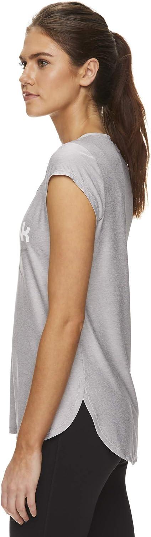 Reebok Legend T-shirt de course et de sport à manches courtes pour femme Applique Argentée Chinée.