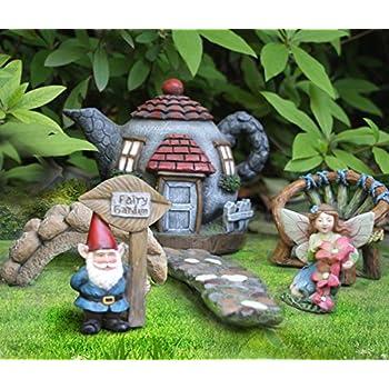 LA JOLIE MUSE Fairy Garden House Set 6 PCs, Miniature Gnome Guard Fairies  Outdoor Lake Village Accessories, Mothers Day Gift