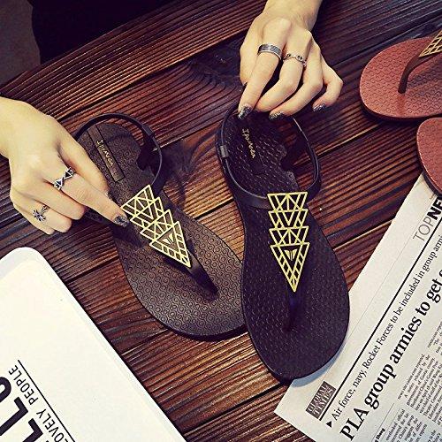 pantofole nuovo pantofole a e freddi Nero estivi di o piedi sparto donna di per piatto di Sandali stile sandali scarpe piedi tela XIAOGEGE di fondo nFZO04q