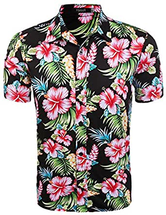 Hasuit Mens Print Dress Shirt Short Sleeve Casual Button Down Shirts (S, Black)
