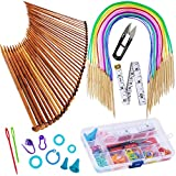 #1: Exquiss Knitting Needles Set-18 Pairs 18 Sizes Bamboo Circular Knitting Needles with Colored Tube + 36 Pcs 18 Sizes Single Pointed Bamboo Knitting Needles 2.0 mm-10.0 mm + Weaving Tools Knitting Kits