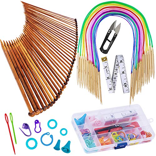 Exquiss Knitting Needles Set-18 Pairs 18 Sizes Bamboo Circular Knitting Needles with Colored Tube + 36 Pcs 18 Sizes Single Pointed Bamboo Knitting Needles 2.0 mm-10.0 mm + Weaving Tools Knitting Kits ()