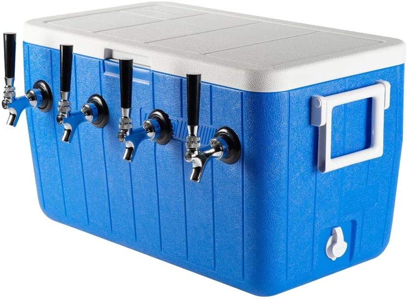 KegWorks Four Faucet Jockey Box - 50' Coil - Faucet Hardware Kit