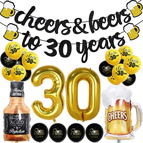 [해외]30 Years Anniversary Decorations - Cheers & Beers to 30 Years Banner Thirty Sign Latex Balloon 40 inch30 Gold Balloon 35 inch Cheers Beers Cups Foil Balloon for 30th Birthday Wedding Party Supplies / 30 Years Anniversary Decoration...