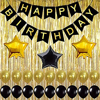 Black, Gold Balloons and Paper Pom Poms Party Supplies for