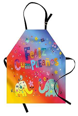 Amazon.com: Ambesonne Spanish Apron, Feliz Cumpleanos Happy ...
