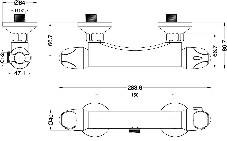 cromado EISL CLT168VCR Termostato para ducha Vitalis