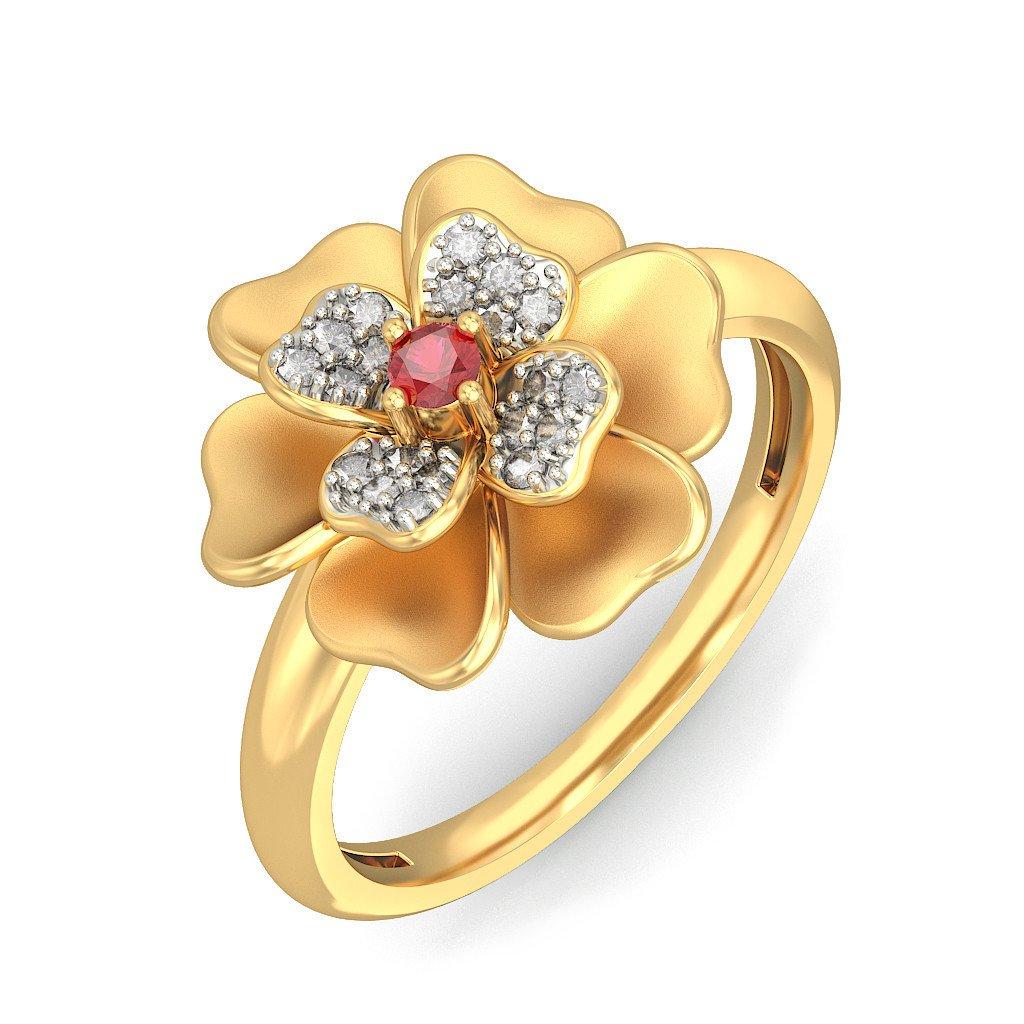14K Yellow Gold (HallMarked), 0.12 cttw White Diamond (IJ | SI ) Ruby and Diamond Engagement Wedding Ring Size - 8.5