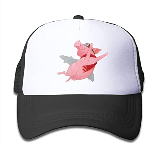 415f5653766 Image Unavailable. Image not available for. Color  monogram doormat Kid s  Boys Girls Pink Flying Pig Youth Mesh Baseball Cap ...