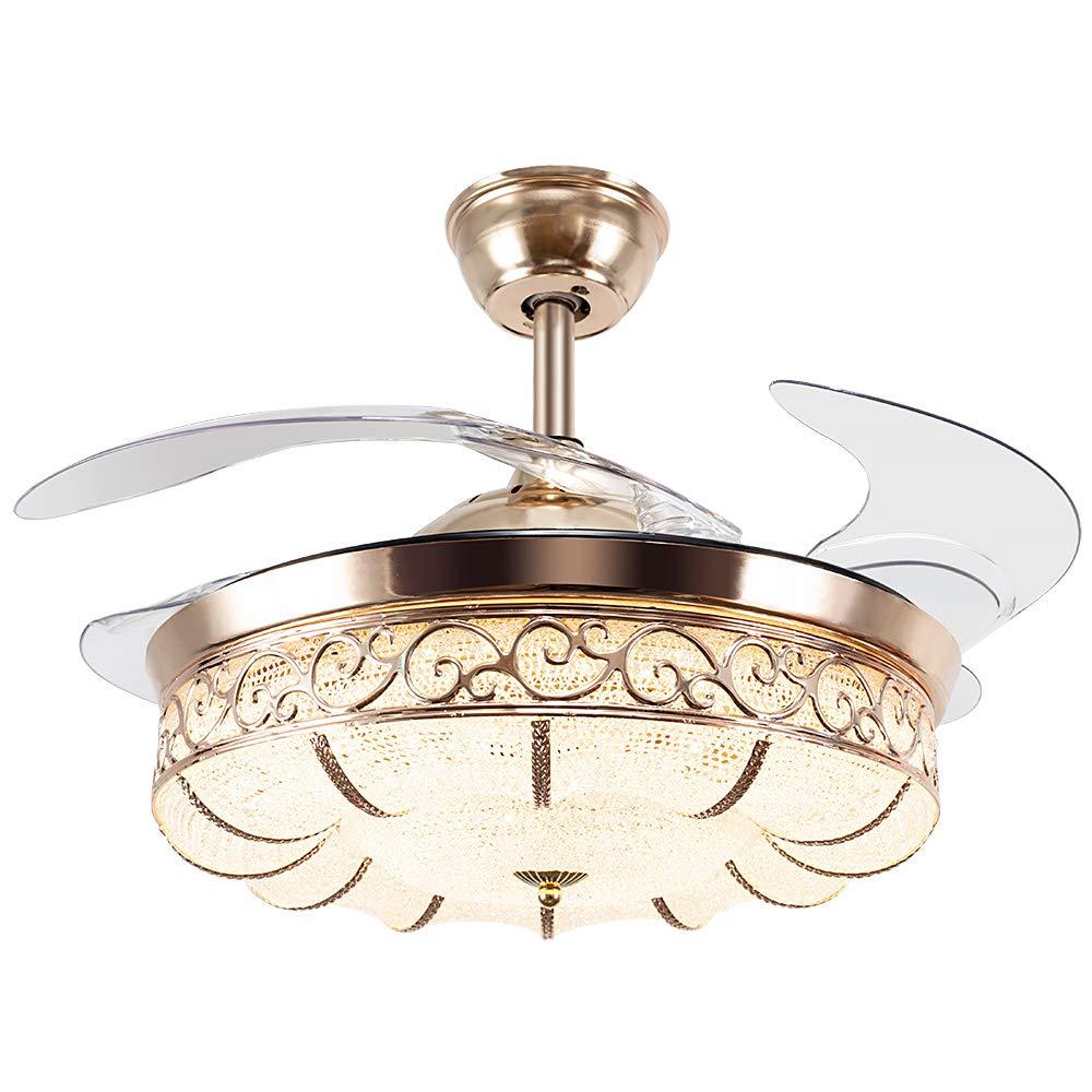 Huston Fan Modern Ceiling Fan Light 42-inch Brushed Nickel Ceiling Fan With Remote Control Chandelier With Fan Contemporary Chandelier Ceiling Fan Golden