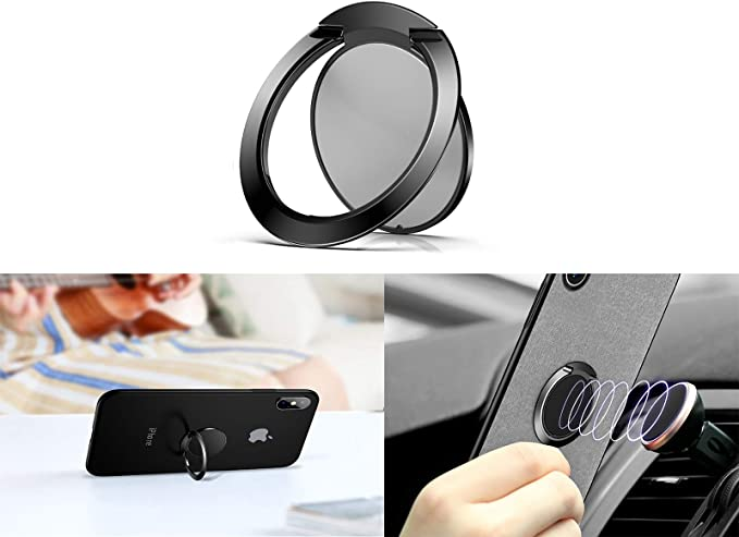 Lenoup Super Thin Cell Phone Ring Stand Holder,Phone Ring Grip Kickstand for Magnetic Car Mount Holder,360 Rotation Metal Finger Ring for Almost All Phones//Pad(Black) 360 Rotation Metal Finger Ring for Almost All Phones//Pad/(Black/)