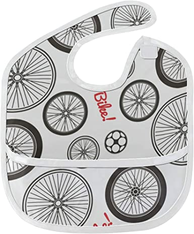 Baberos para niños Ruedas de bicicleta en blanco y negro Mancha ...