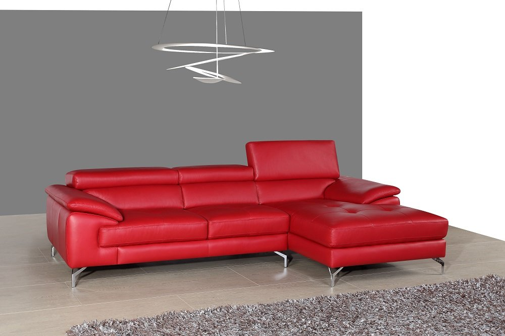 Amazon.com Ju0026M Furniture 179061-LHFC A973b Italian Leather Sectional in Left Hand Facing Kitchen u0026 Dining  sc 1 st  Amazon.com : red leather sectional - Sectionals, Sofas & Couches