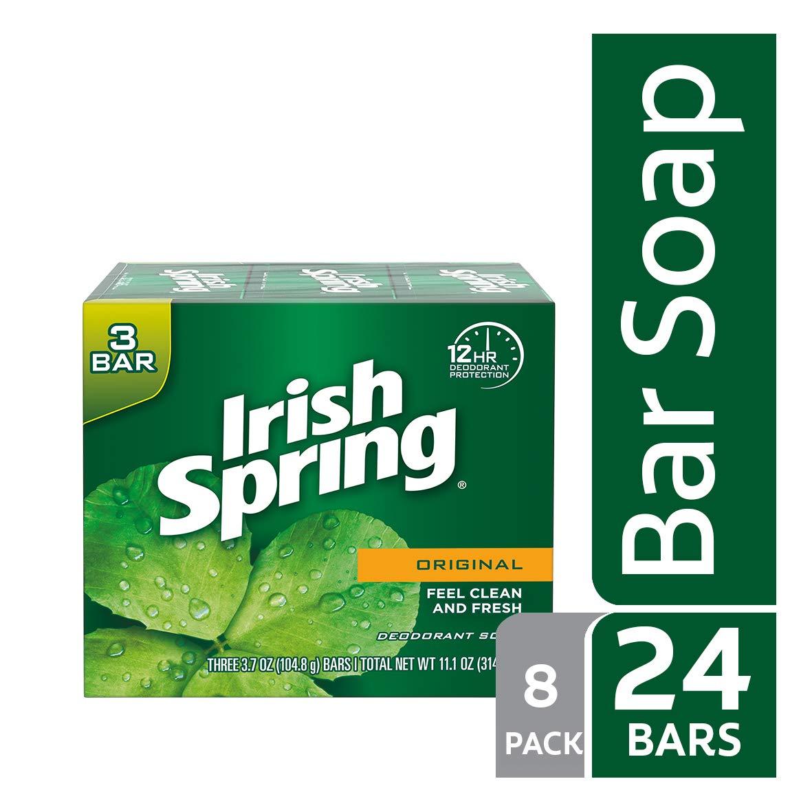 Irish Spring Original Deodorant Bar Soap, 3.7 Ounce, 3 Count (8 pack)