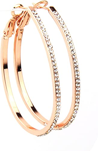 Large Loop Rose Gold Earrings With Sparkling Crystals Latch Back Fastener Uk Amazon Co Uk Kitchen Home
