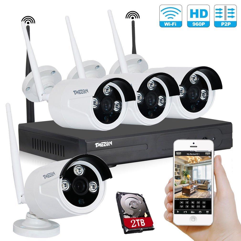 TMEZON WIFIカメラ4台 有線/無線LAN対応 ハイビジョン 監視カメラ 130万高画素 3赤外線LEDアレイ 3.6mmレンズ 屋内外設置 防水防塵 遠隔監視 モーション感知 ホワイト 2TB HDD付き B01GNP29ZO 130万高画質WIFIカメラ4台+4chレコーダー(2TBHDD付き) 130万高画質WIFIカメラ4台+4chレコーダー(2TBHDD付き)