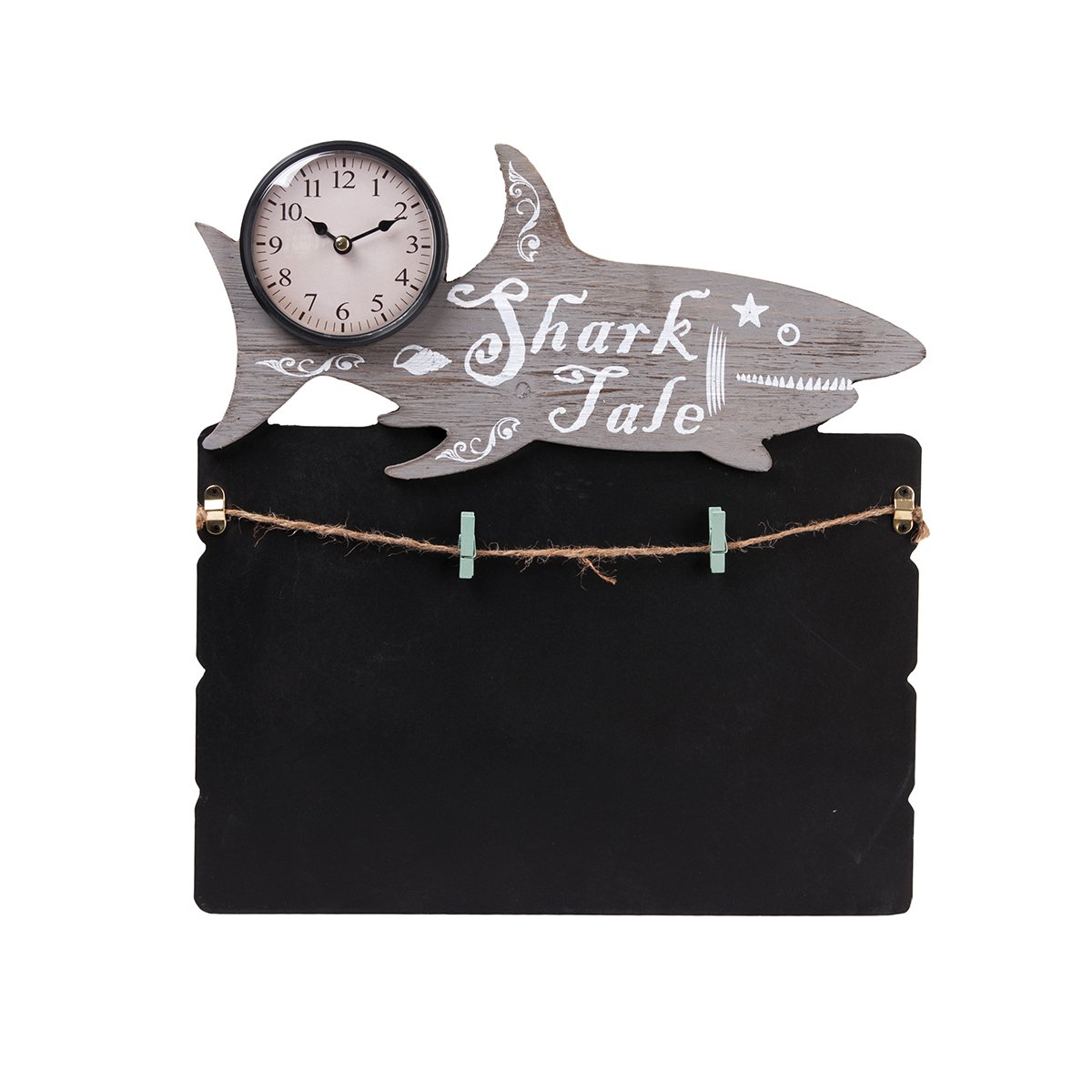TORCH Decorative Small Lovely Animal Figure Wooden Chalkboard Messageboard with Mini Clock for Hanging and Organizing Prints, Instax, Photos, Artwork (SHA)