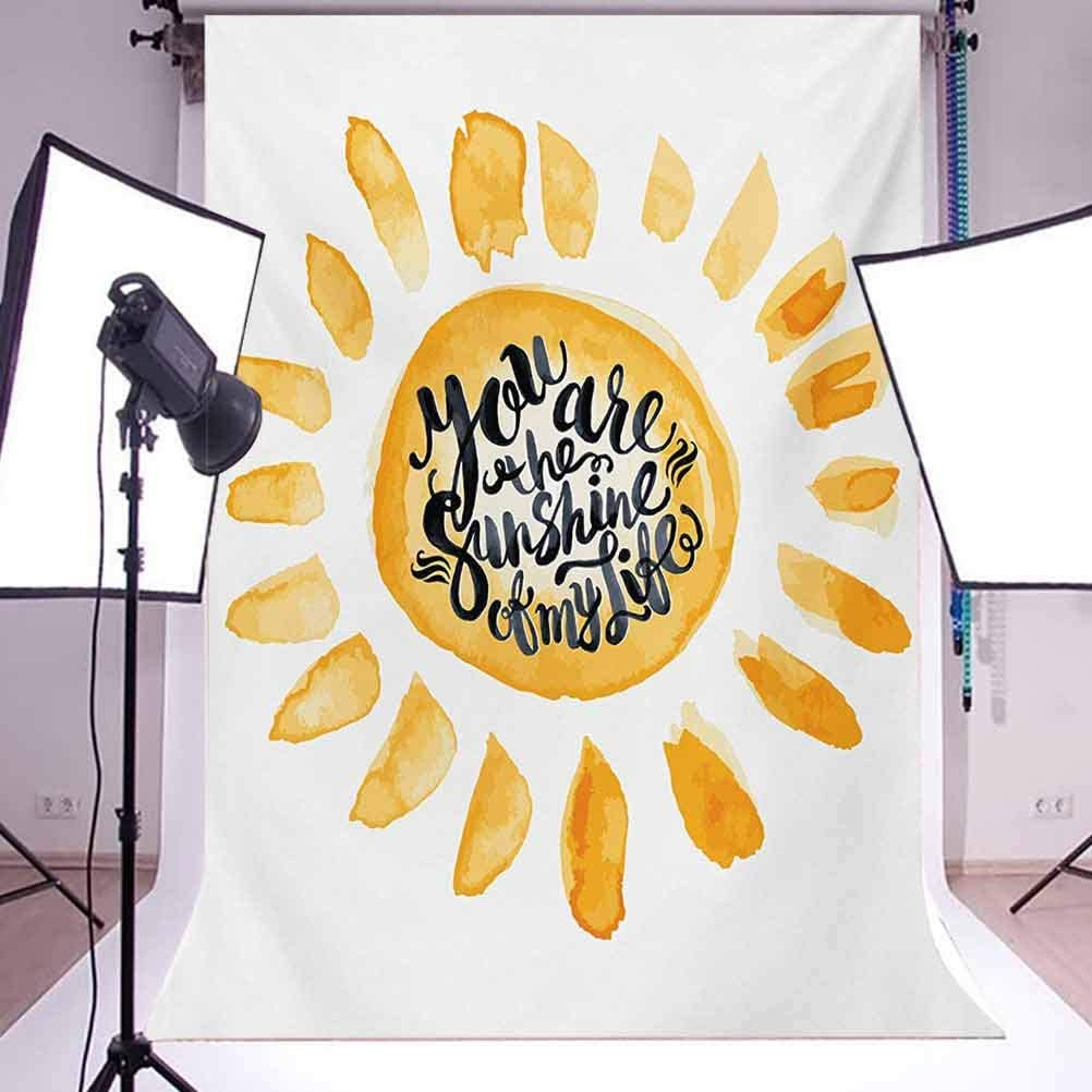 Watercolor Image Sunny Hot Life Inspired Warm Emotions Elements Fun Sign Print Background for Party Home Decor Outdoorsy Theme Vinyl Shoot Props Orange Black Quote 6.5x10 FT Photography Backdrop