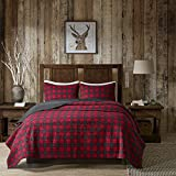 3 Piece Black Red Classic Plaid Quilt Full Queen Set, Tartan Checked Pattern Bedding Cabin Lodge Themed Madras Checkered Squares Southwest Western Patchwork Reverse Solid Color, Cotton