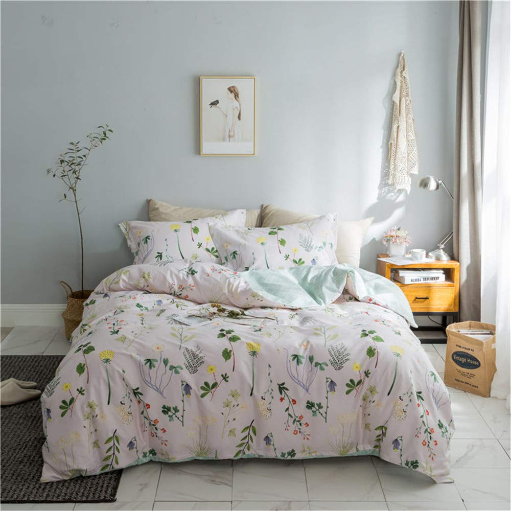 Botanical Duvet Cover Set, 100% Cotton Bedding, Yellow Flowers and Green Leaves Floral Garden Pattern Printed on White (3pcs, Queen Size)