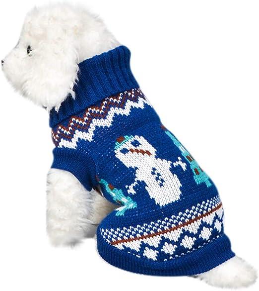 Saingace(TM) - Jersey para Perros, Ropa para Mascotas, Ropa para Perro, Perro, Gato, Invierno, Cuello Alto, muñeco de Nieve, suéter para Disfraz: Amazon.es: Productos para mascotas