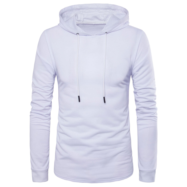 Manwan walk Men's Hipster Hip Hop Longline Side Zipper Hooded T-Shirt T74 (Medium, White-2)