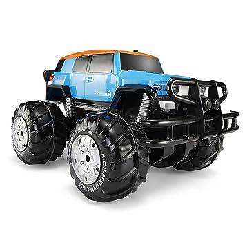 Muzili- Monster Truck Vehículo Todoterreno con Control Remoto de Las Cuatro Ruedas Anfibio Grande/Faros de simulación/Crucero Largo/los Mejores Juguetes ...