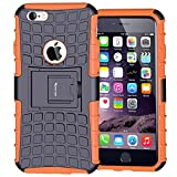 iPhone 6 Case,iPhone 6S Case,Armor Heavy Duty Protection Rugged Dual Layer Hybrid Shockproof Case Protective Cover for Apple iPhone 6 6S 4.7 Inch with Built-in Kickstand (Orange)