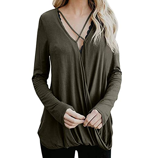 1c969bd35cea Image Unavailable. Image not available for. Color: Kumike Women's Casual  Loose Cross Cold Shoulder V Neck Long Sleeve Blouse T-Shirt Tunic