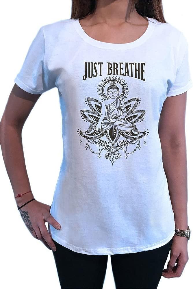 Camiseta para Mujer Just Breathe Meditación para Buda Yoga ...