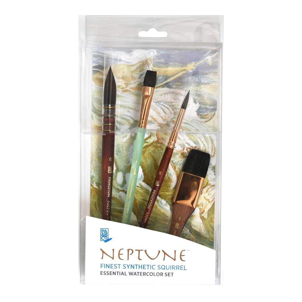 Princeton Artist Brush Neptune, Synthetic Squirrel for Watercolor, Series 4750. 4 Piece Professional Set (4750BSET)