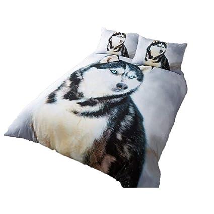 Husky Wolf 3D Luxurious Duvet Cover Sets Reversible Bedding Sets by Laura Secret
