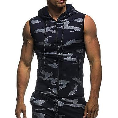 fc01905819281 Rera Mens Running Hoodie Slim Fit Zip Up T-Shirt Vest Camouflage Sleeveless  Sport Training