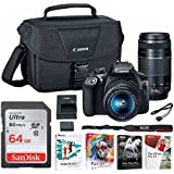 Canon EOS Rebel T6 Digital Camera: 18 Megapixel 1080p HD Video DSLR Bundle With 18-55mm & 75-300mm Lenses 64GB SD Card Software Pack & Bag - Professional Vlogging Sports & Action Cameras