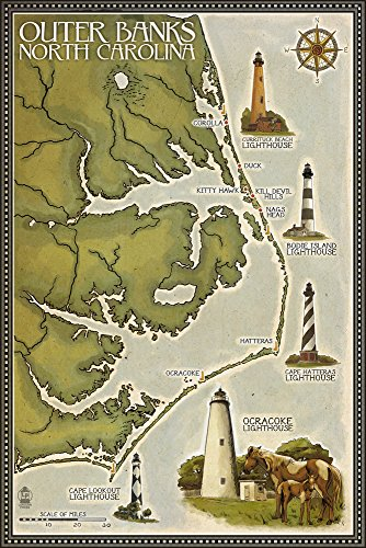 - Outer Banks, North Carolina - Lighthouse and Town Map (12x18 Signed Print Master Art Print w/Certificate of Authenticity - Wall Decor Travel Poster)