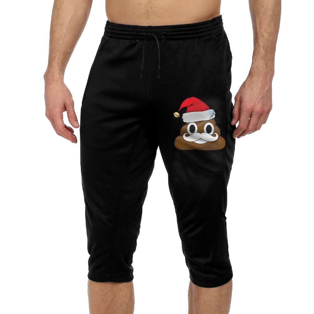 Santa Beard Christmas Poop Emoji Exercise Man Vintage Casual Durable French Terry Lounge Pants by BigManPants