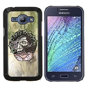 LECELL--Funda protectora / Cubierta / Piel For Samsung Galaxy J1 J100 -- Guirnalda del pelo de la mujer del arte floral de la acuarela --