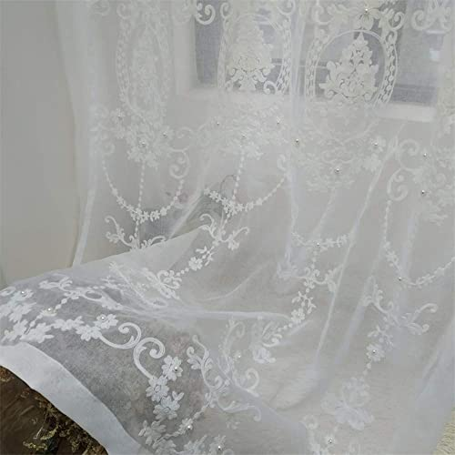 Luxury Floral Embroidered Beaded Semi Sheer Curtain