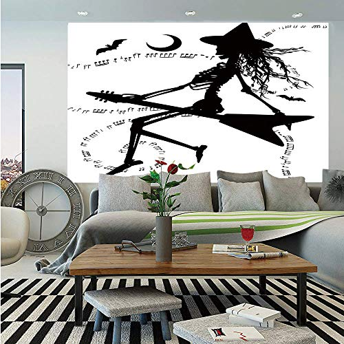 SoSung Music Wall Mural,Witch Flying on Electric Guitar Notes Bat Magical Halloween Artistic Illustration,Self-Adhesive Large Wallpaper for Home Decor 83x120 inches,Black White