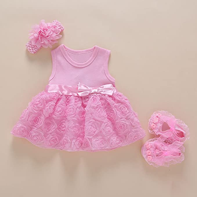 8dfbab6542e64 Ocamo Baby Girl's Lace Dress Gown with Headband and Shoes Set  (XJSJTZ-WK0614-LW1455, Pink short-sleeved rose dress + shoes + hair band,  0-3 months)