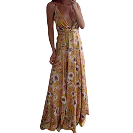 3ff51e6a7e Amazon.com: Women's Sexy Deep V-Neck Derss Boho Clearance Sale, NDGDA  Ladies Summer Sling Print Strappy Long Maxi Party Beach Dresses: Home  Improvement